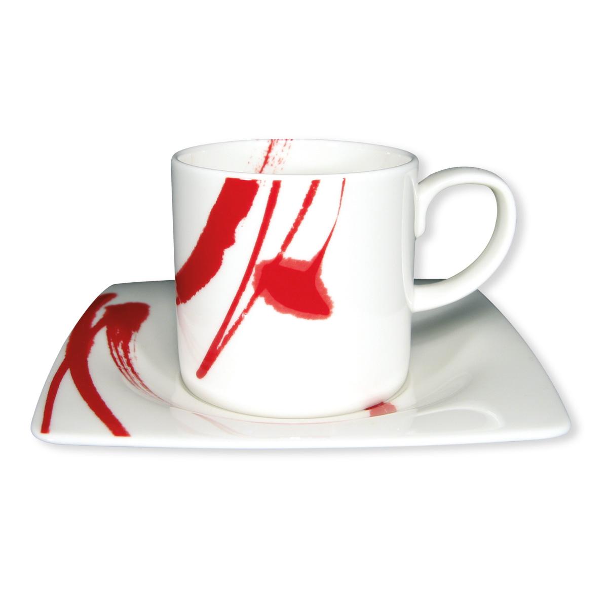 tasse caf et sous tasse carr e en porcelaine rouge. Black Bedroom Furniture Sets. Home Design Ideas
