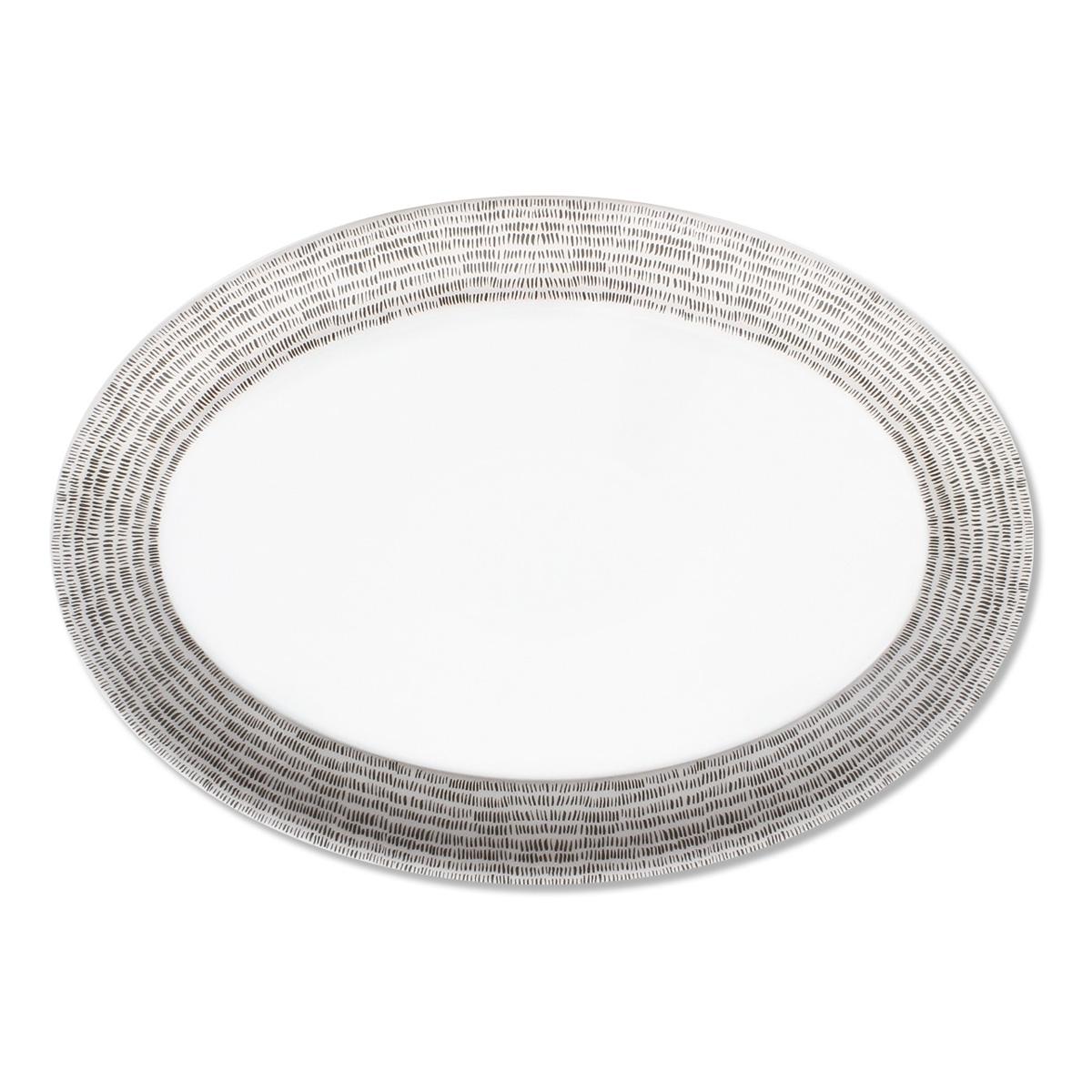 plat ovale en porcelaine color e argent vaisselle chic. Black Bedroom Furniture Sets. Home Design Ideas