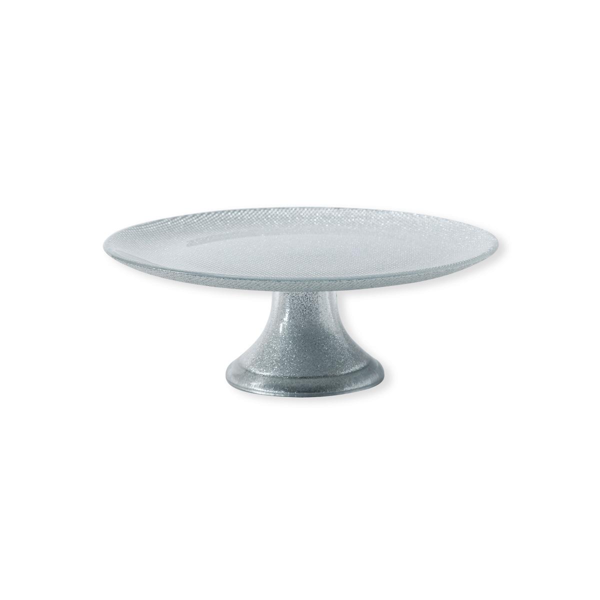 plateau design sur pied en verre color argent bruno evrard. Black Bedroom Furniture Sets. Home Design Ideas
