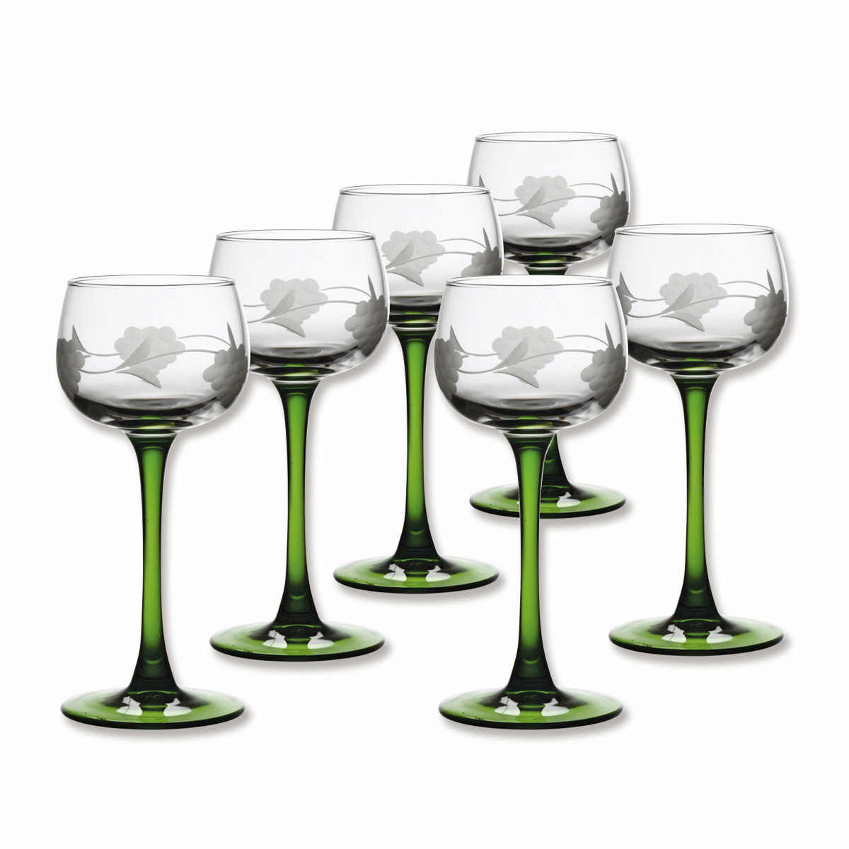 verre vin d 39 alsace verres grav s pied vert bruno evrard. Black Bedroom Furniture Sets. Home Design Ideas
