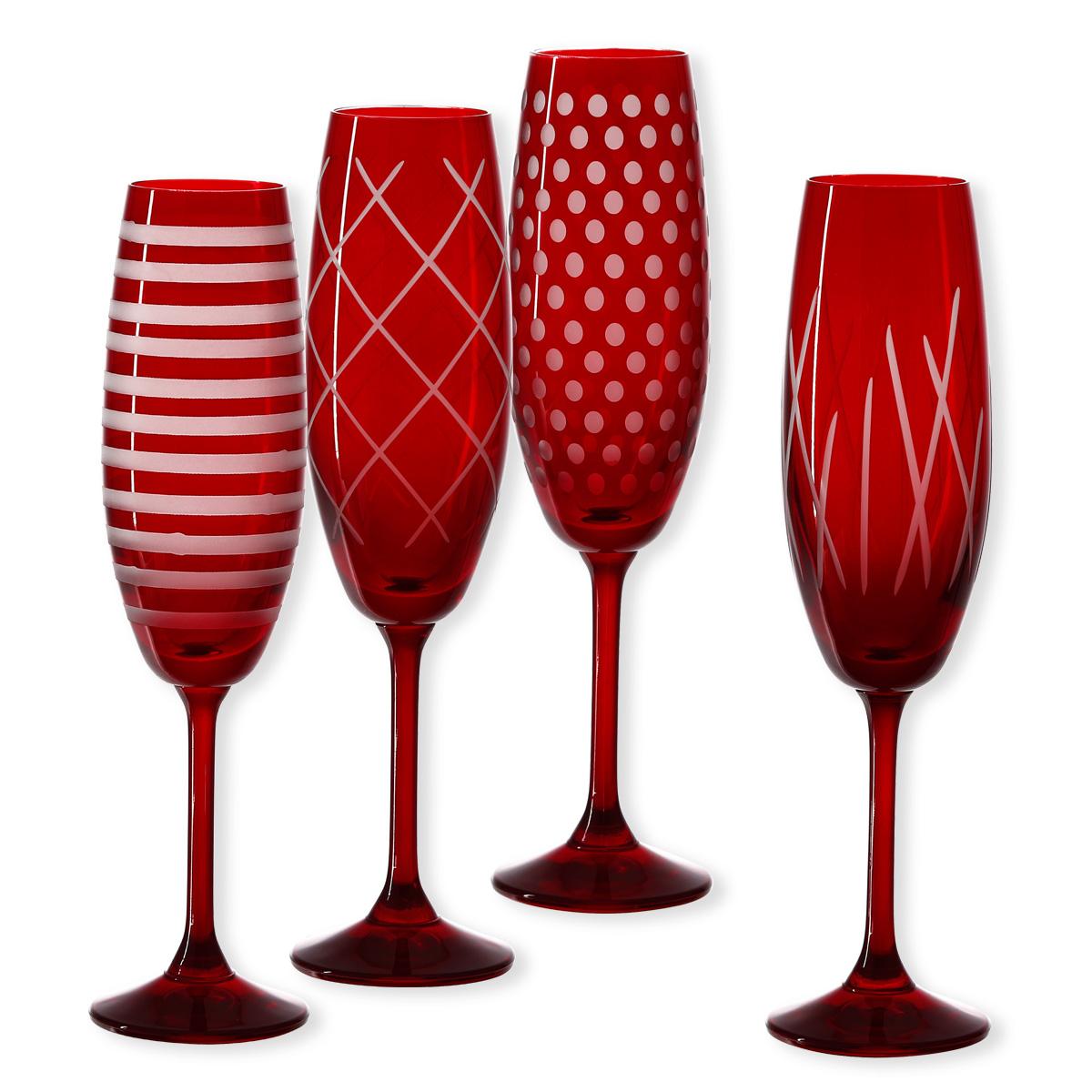 fl tes champagne en verre rouge verrerie design bruno evrard. Black Bedroom Furniture Sets. Home Design Ideas