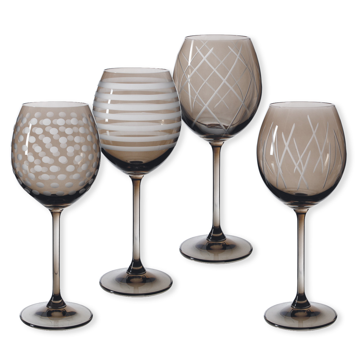 lot de 4 verres vin de couleur taupe quorus bruno evrard. Black Bedroom Furniture Sets. Home Design Ideas