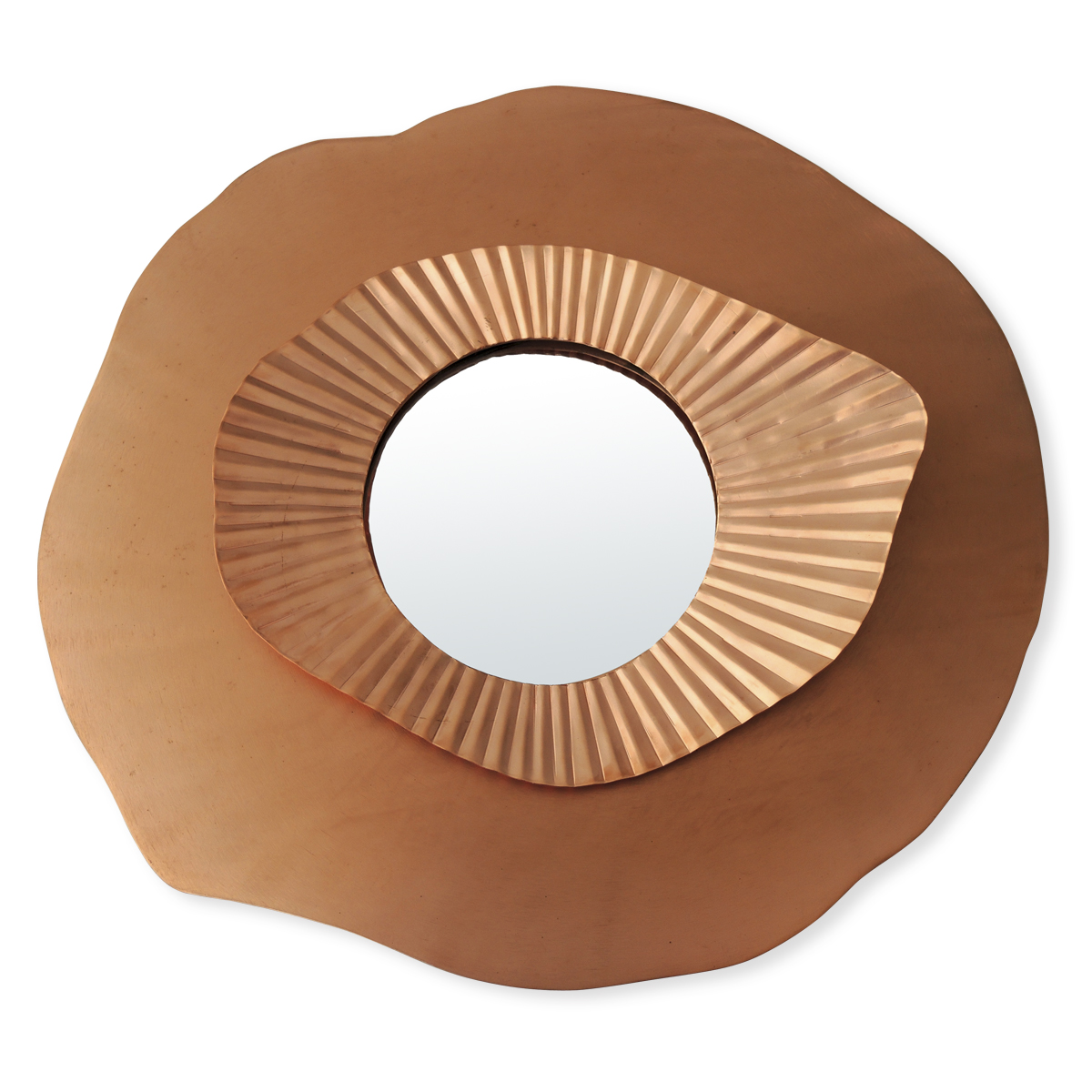 miroir en forme de fleur cuivre bruno evrard. Black Bedroom Furniture Sets. Home Design Ideas
