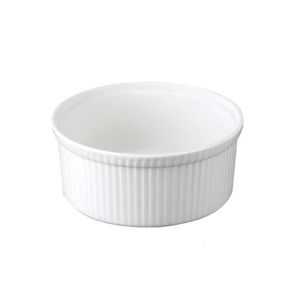 Moule à soufflé plissé en porcelaine 21,5cm/Ht.9,8cm