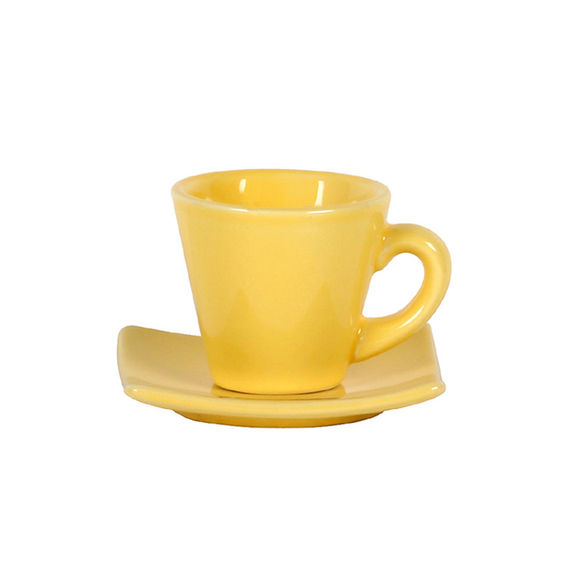 Tasse à expresso jaune en céramique 8cl