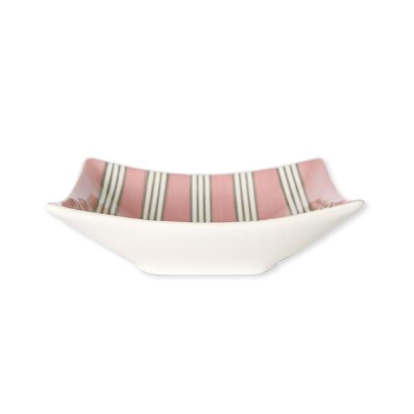 Assiette creuse rayée rose en céramique 19x16cm
