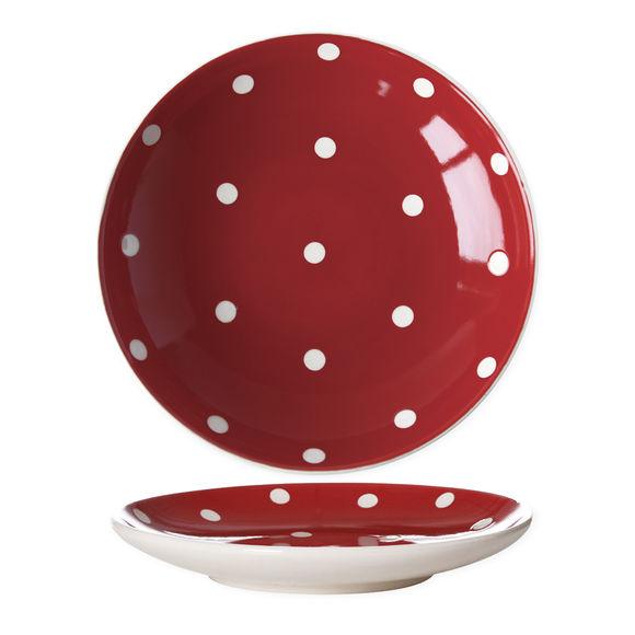 Assiette dessert rouge à pois en céramique 22x22cm