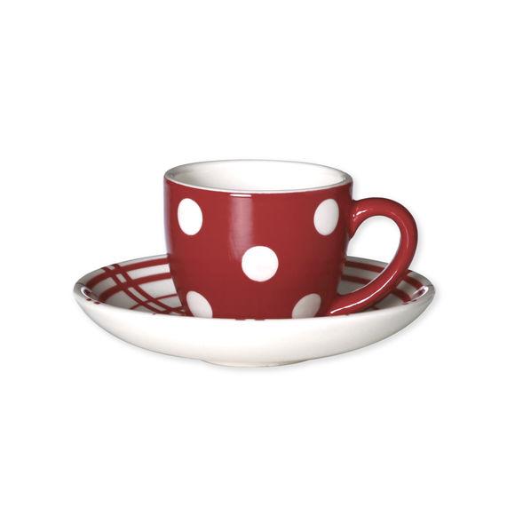 Tasse à expresso rouge à pois en céramique 8cl