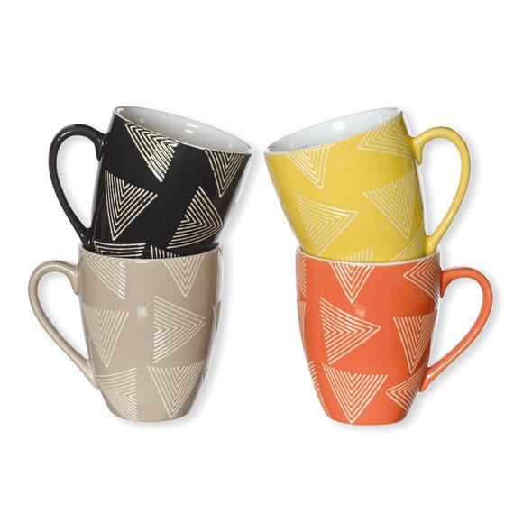 Mugs en faïence motifs assortis 18cl - Coffret de 4