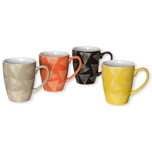 Mugs en faïence motifs assortis 28cl - Coffret de 4