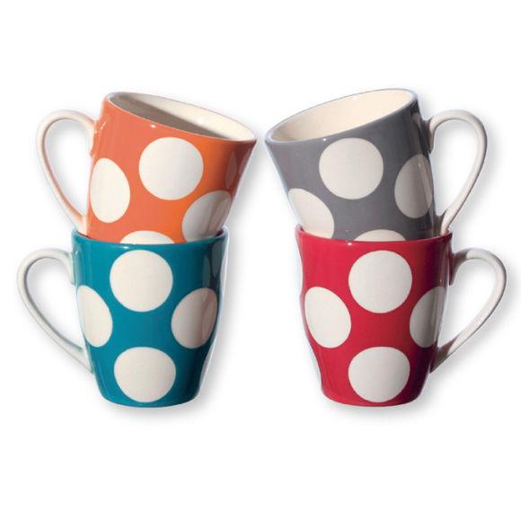 Mugs à pois en faïence 25cl - Coffret de 4