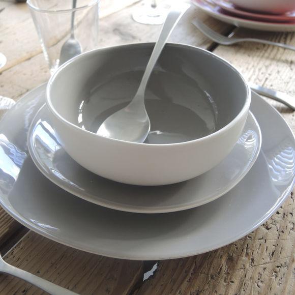 plus récent 9b7e1 069d4 Assiette dessert grise en faïence 20cm