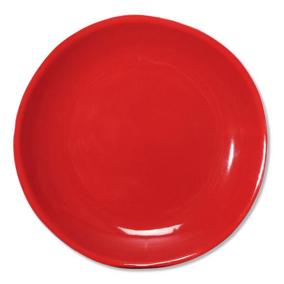 Assiette plate rouge en faïence 27cm