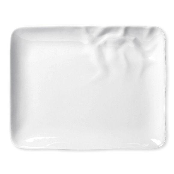 Assiette plate rectangulaire en porcelaine 28x22cm