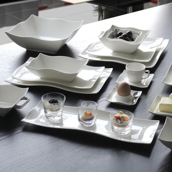 assiettes rectangulaires design blanches 33x21cm bruno evrard. Black Bedroom Furniture Sets. Home Design Ideas
