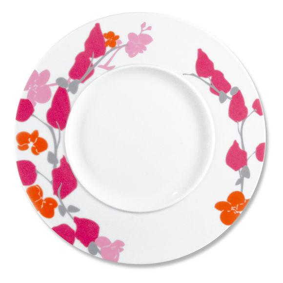 Assiette plate motifs fleurs en porcelaine 29cm