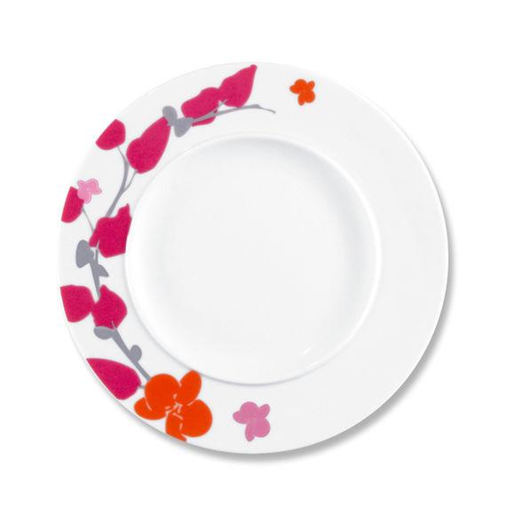 Assiette dessert motifs fleurs en porcelaine 22cm