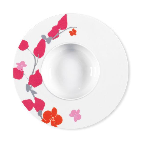 Assiette creuse motifs fleurs en porcelaine 29cm
