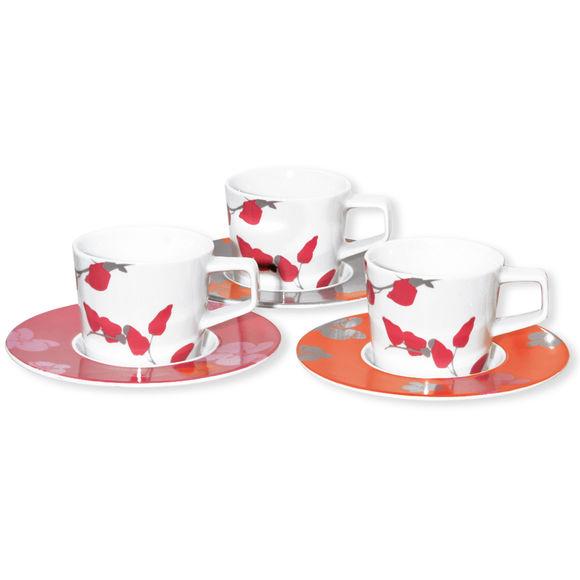 Tasses à thé en porcelaine 3 couleurs 22cl - Lot de 6