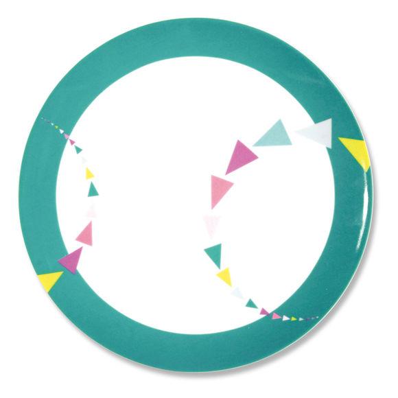 Assiette plate en porcelaine motifs graphiques 27cm