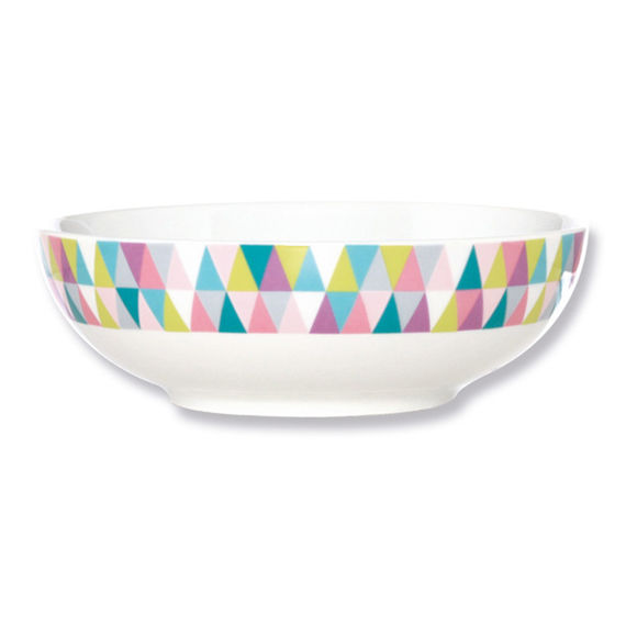 Assiette creuse en porcelaine motifs graphiques 18cm