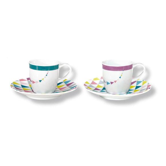 Tasses à café en porcelaine motifs graphiques 15cl