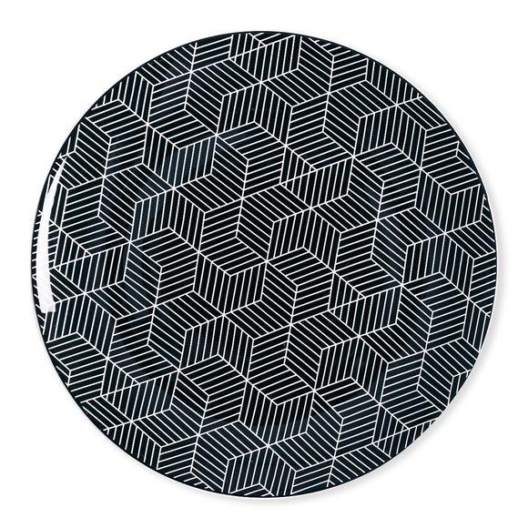 Assiette plate motifs graphiques en porcelaine 27cm