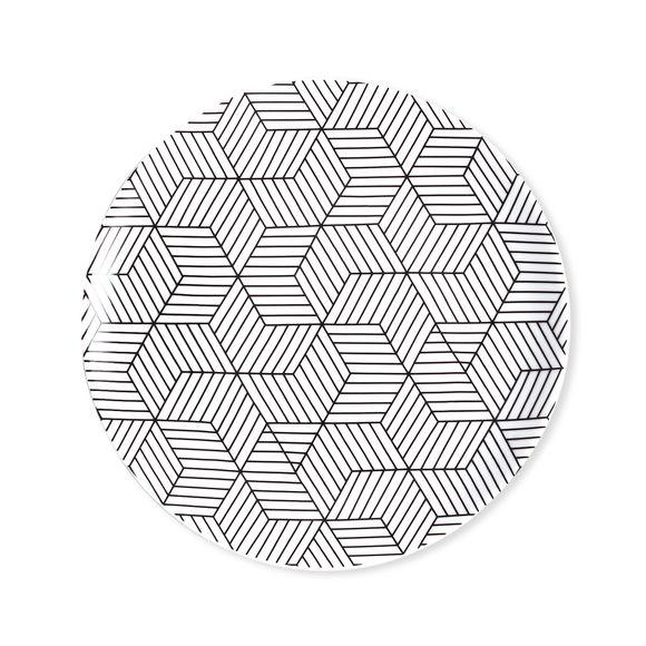 Assiette dessert motifs graphiques en porcelaine 21cm