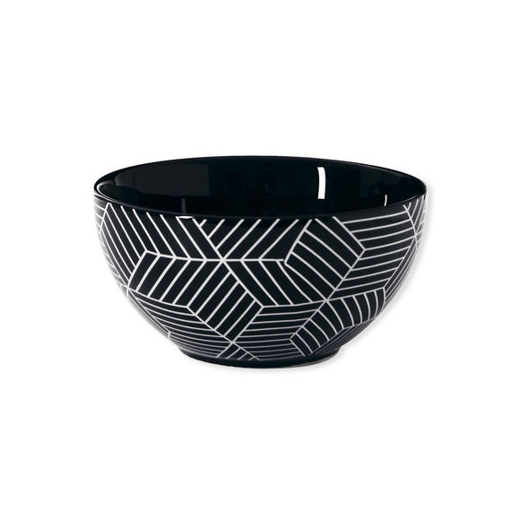 Assiette creuse motifs graphiques en porcelaine 14cm