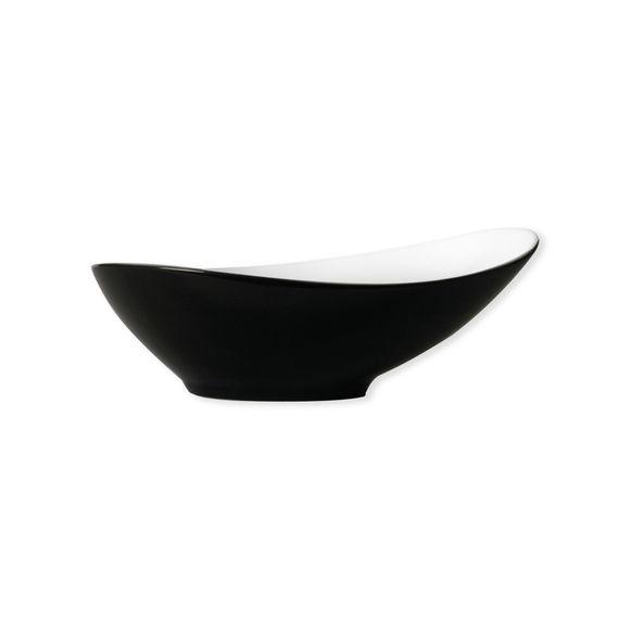Assiette creuse noire asymétrique en porcelaine 20cm
