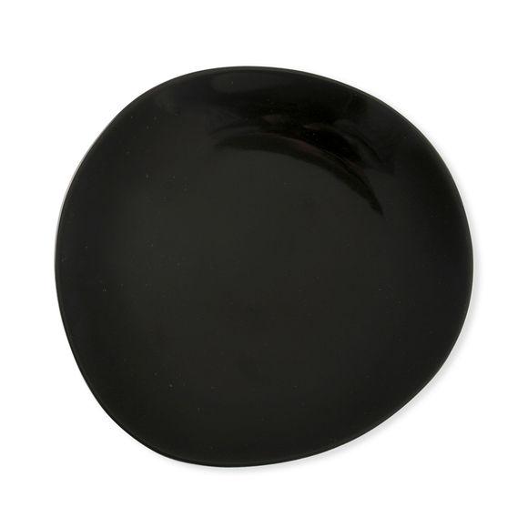 Assiette dessert noire asymétrique en porcelaine 22cm