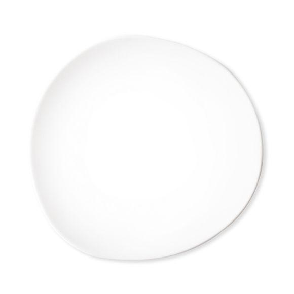Assiette dessert blanche asymétrique en porcelaine 22cm