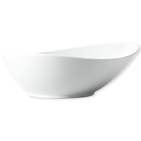 Saladier blanc asymétrique en porcelaine 26cm