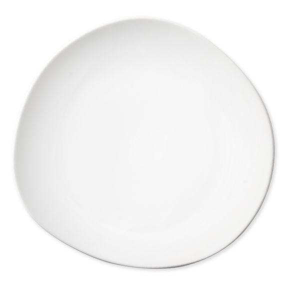 Plat blanc asymétrique en porcelaine 30x32cm
