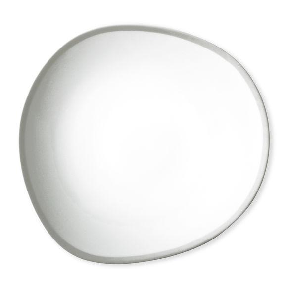 Assiette plate blanc/argent asymétrique en porcelaine 28cm