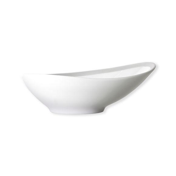 Assiette creuse blanc/argent asymétrique en porcelaine 20cm