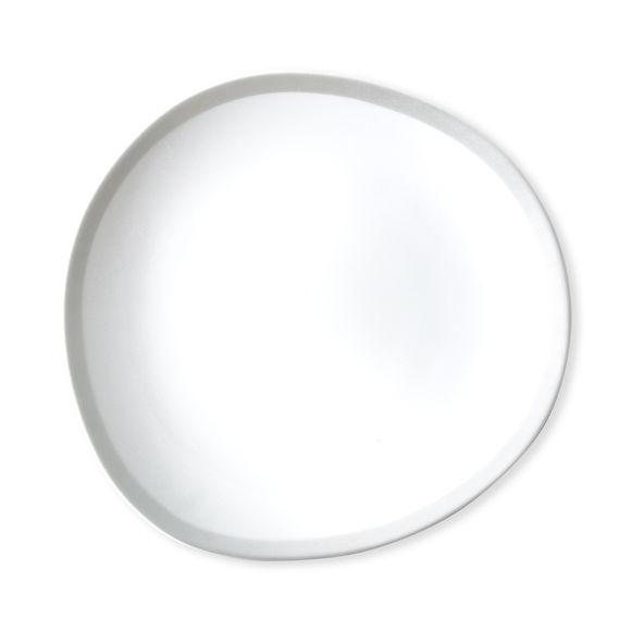 Assiette dessert blanc/argent asymétrique en porcelaine 22cm