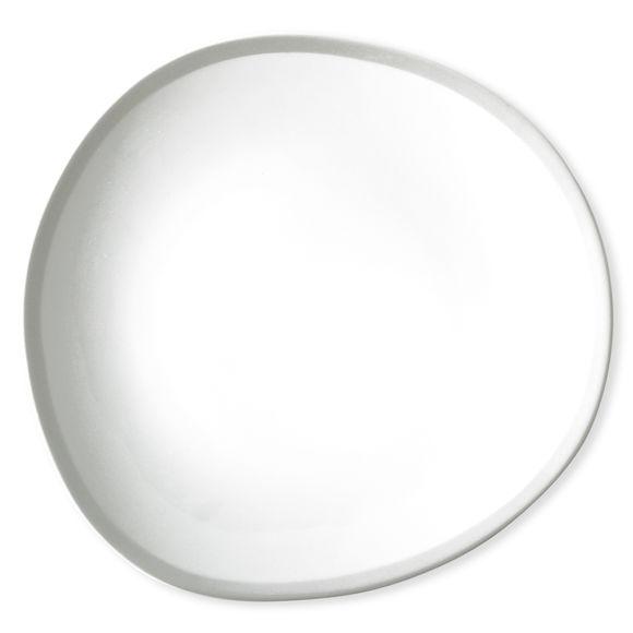 Plat blanc/gris asymétrique en porcelaine 32x30cm