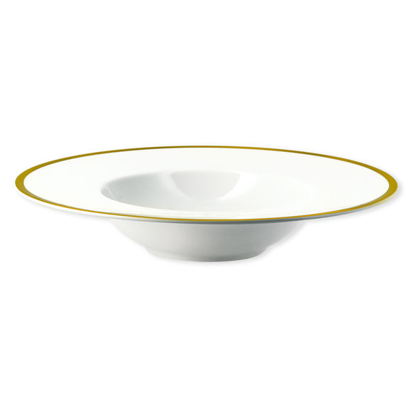 Assiette creuse en porcelaine filet or 23cm