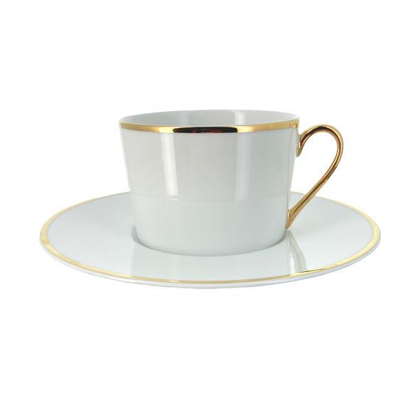Paire-tasse à thé en porcelaine filet or 22cl