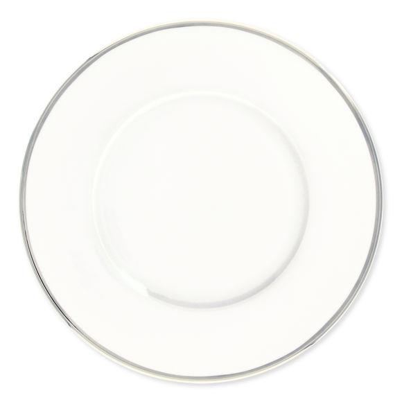 Assiette plate en porcelaine filet argent 27cm