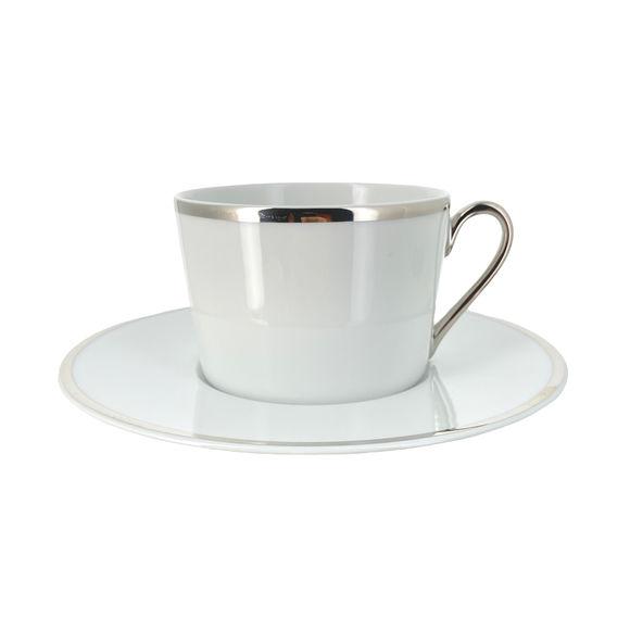 Paire-tasse à thé en porcelaine filet argent 22cl
