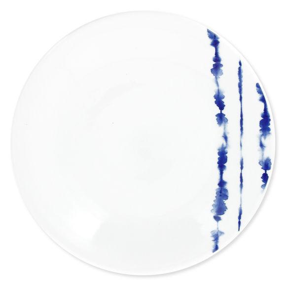 Assiette plate en porcelaine décor bleu 28cm