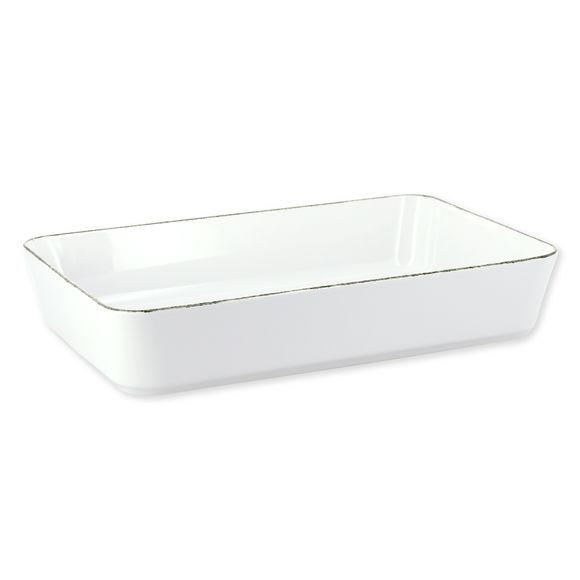 Plat à four rectangulaire blanc en porcelaine 33x21cm