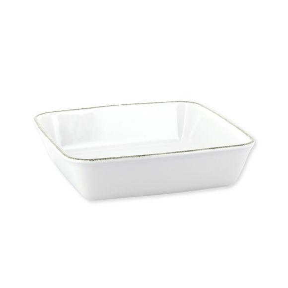 Plat à four carré blanc en porcelaine 23x23cm