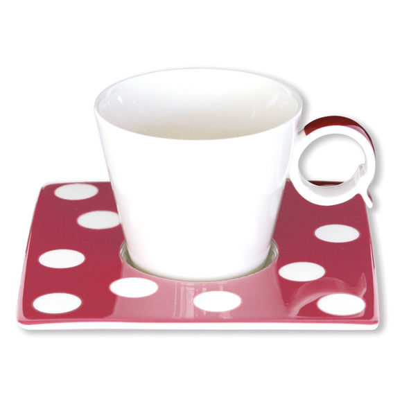 Tasse à café à pois violet en porcelaine 12cl