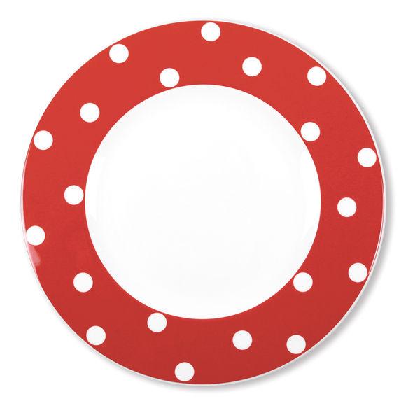 Assiette plate à pois rouge en porcelaine 29cm
