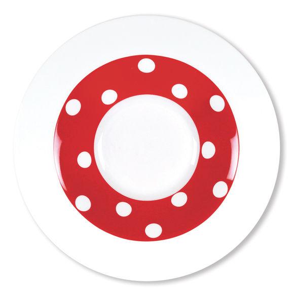 Assiette creuse rouge en porcelaine 24cm