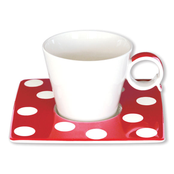 Tasse à café à pois rouge en porcelaine 12cl