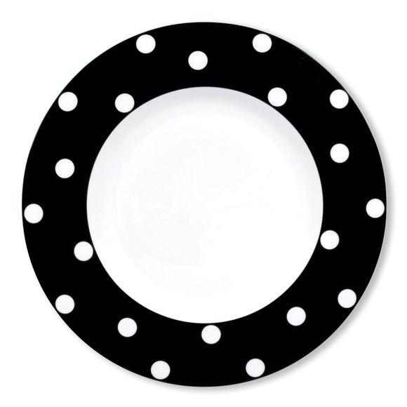 Assiette plate à pois noir en porcelaine 29cm